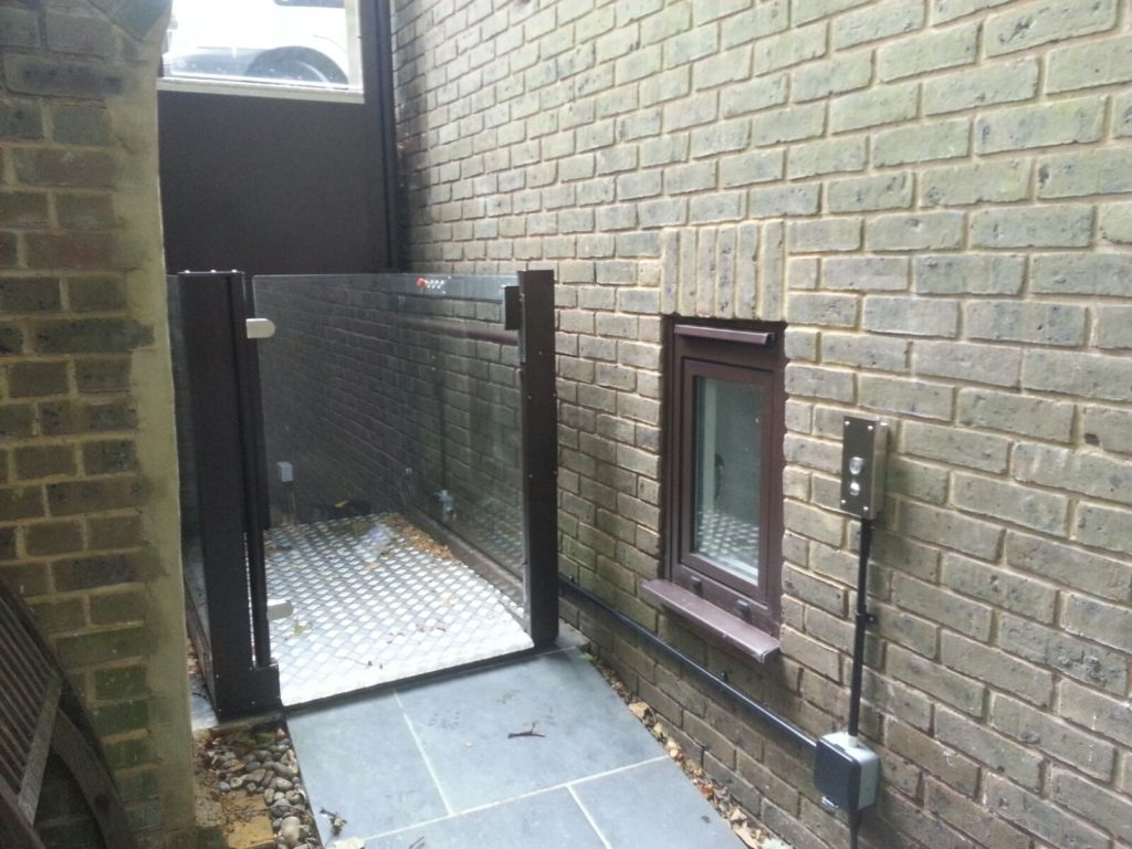 Open Style Platform Lift on Side Of House