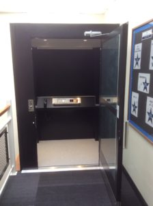 Extremely Compact Platform Lift in school