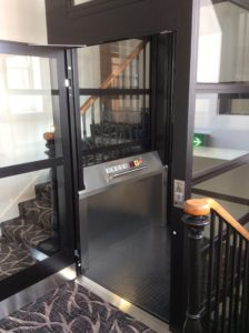 Extremely Compact Platform Lift in hotel